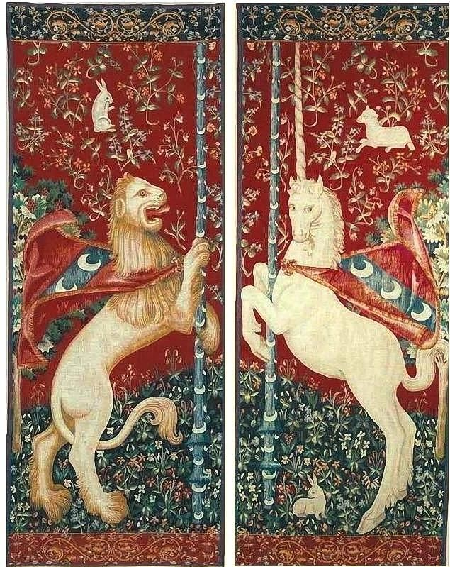 Portiere Unicorn and Lion - Medieval Wall Tapestry Set