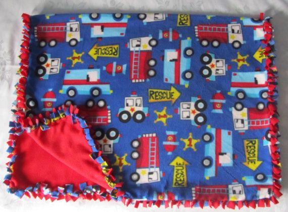 Cozy Rescue vehicle fleece tie blanket/baby by BriersBlankets