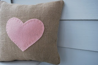 Heart Felt Burlap Pillow: Valentine's Day Project | A Crafty House: Knitting and Crochet Patterns and Crafts
