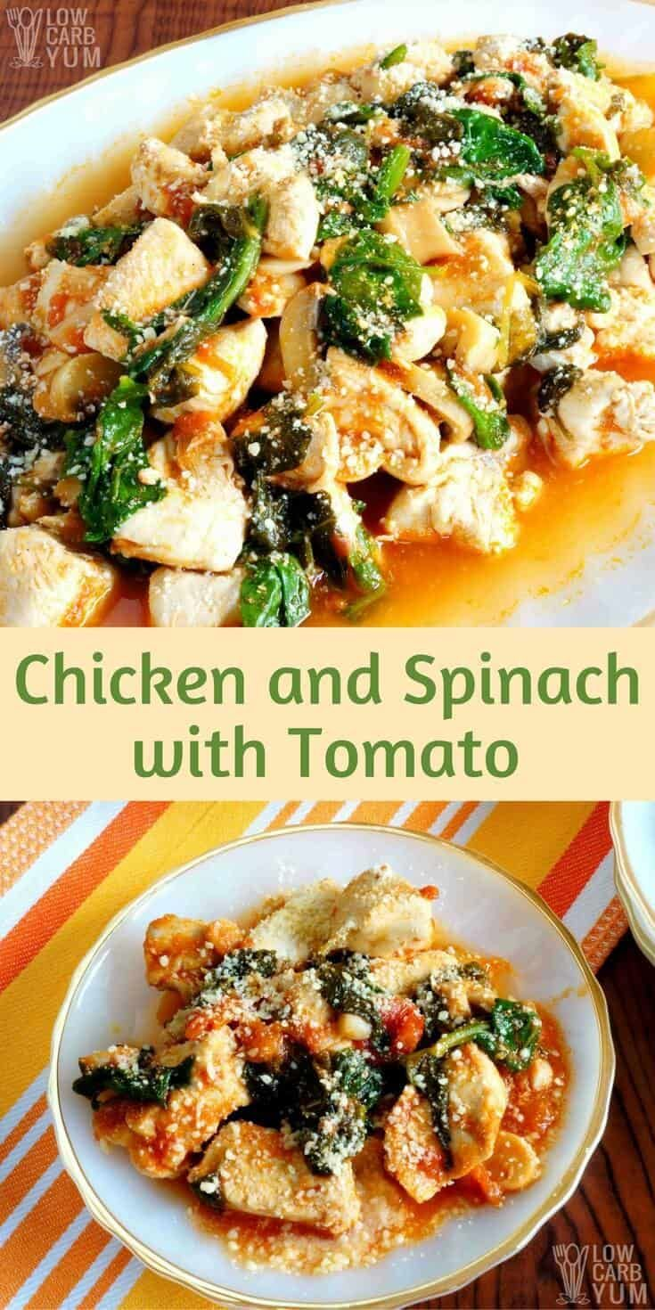 This one pot chicken spinach tomato dish is simple to prepare and cooks up quickly. It's perfect for those busy evenings when you don't have a lot of time for dinner. #keto #lowcarb #chickenrecipe | LowCarbYum.com