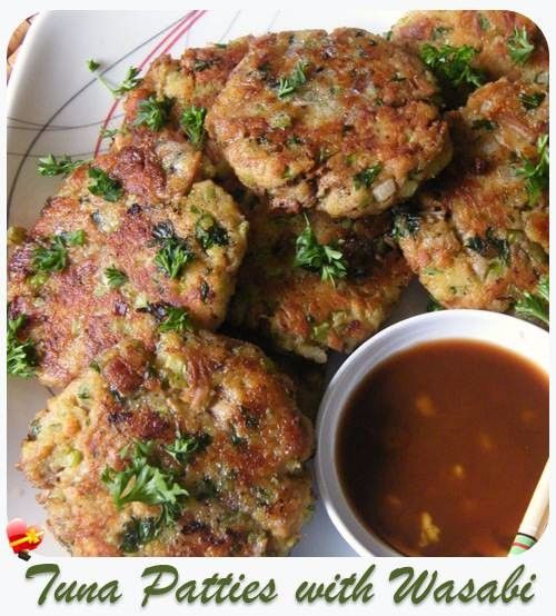 Simple and delicious tuna patties with wasabi for dipping. Get more island recipes here.