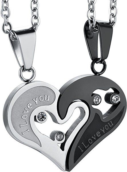 f7b3c89e4d Jstyle Stainless Steel Mens Womens Couple Necklace Pendant Love Heart CZ  Puzzle Matching | Amazon.com
