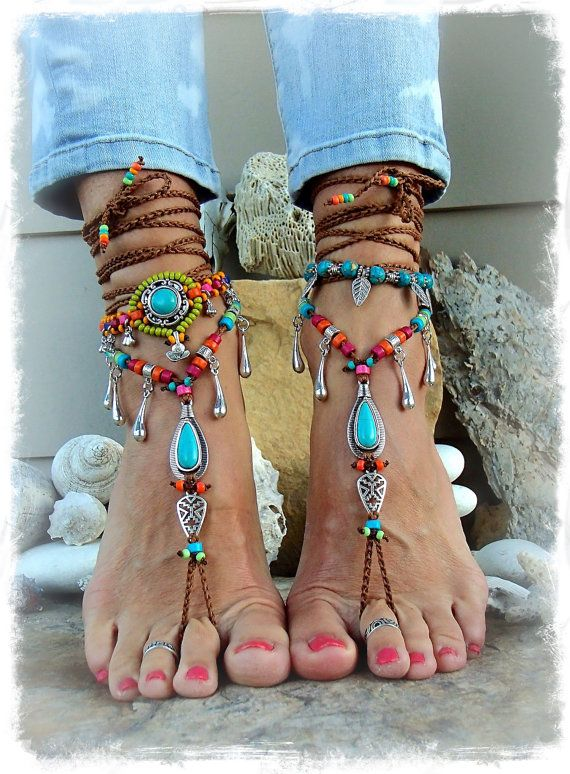 IBIZA Summer BAREFOOT Sandals Neon Tassel jewelery TURQUOISE sandal Tribal Cowgirl feet Ankle Wrap shoes footwear crochet jewelry GPyoga