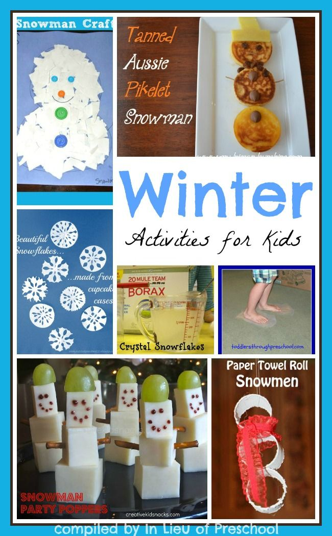 crafts, snacks, science, and gross motor winter activities for kids