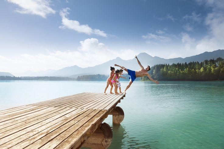 (c)Kärnten Werbung/Edward Groeger  Familienspaß an den Seen der Region Villach. #türkisblau #smaragdgrün #Wasser #Berge #Seen #Familienurlaub #qualitytime #Kärnten #Villach