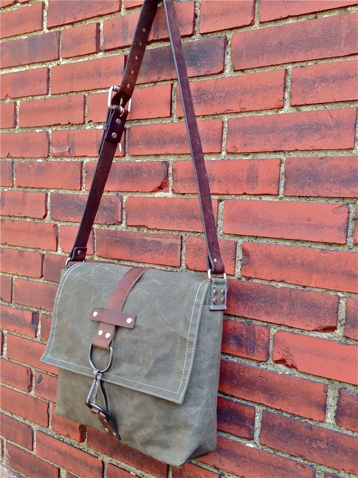 GG Custom • Men's RUSTBELT COURIER by greengaragestudio.com Made in USA. Waxed canvas + reclaimed leather & hardware.