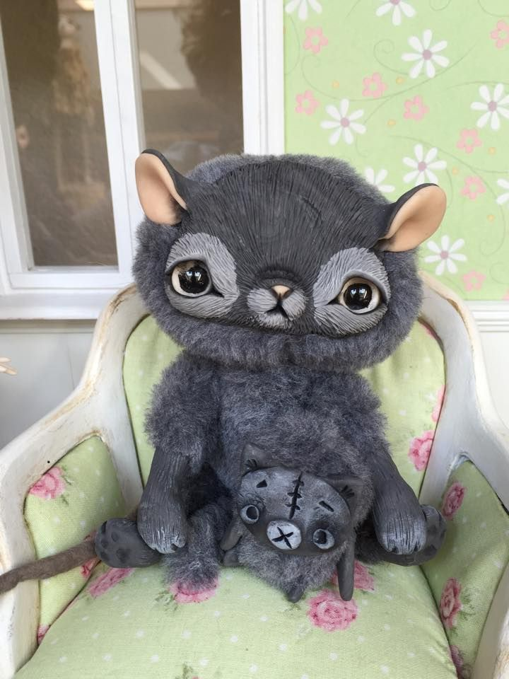100$ + shipping, Cat & mouse made by Gakman Creatures, art doll ooak