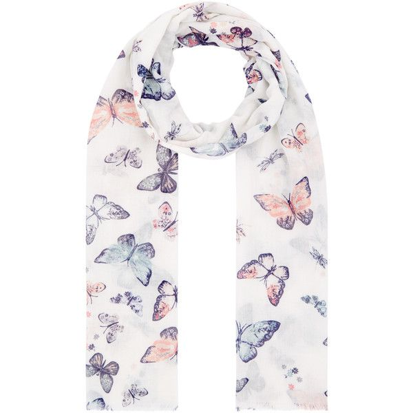 Accessorize Opp Flutterbye Butterfly Scarf ($20) ❤ liked on Polyvore featuring accessories, scarves, butterfly shawl, butterfly scarves and accessorize scarves