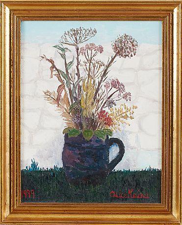 Alice Kaira: Blomsterstilleben, 1979, olja på duk, 35x27 cm - Stockholms Auktionsverk