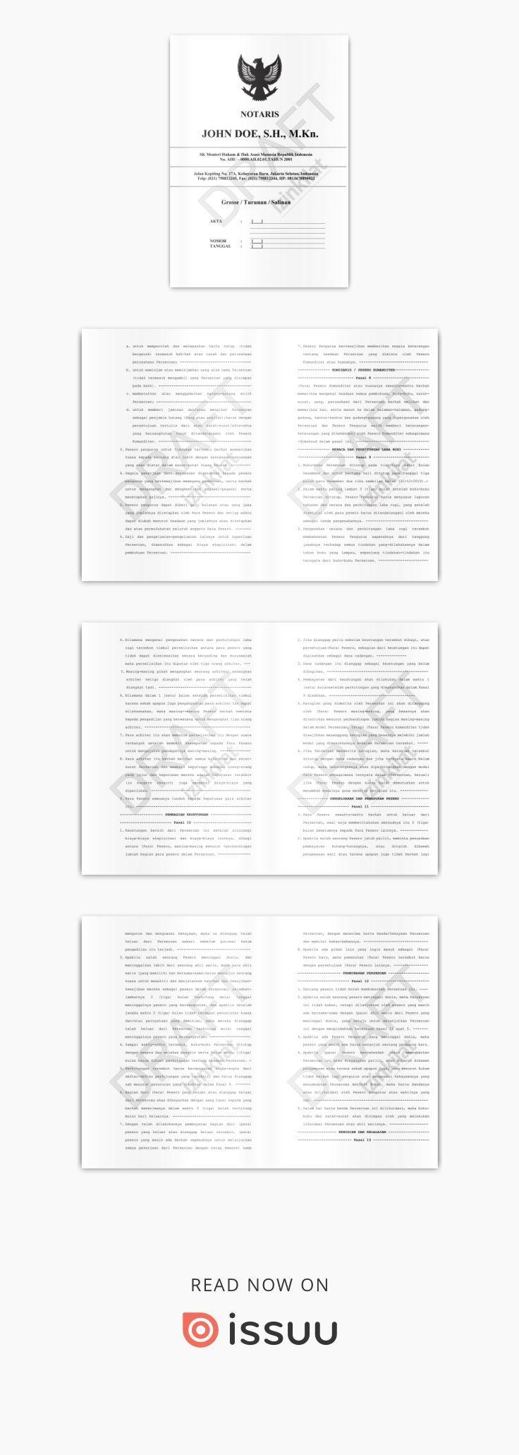 Contoh Akta Pendirian Cv Akta Notaris Cv Template Akta Cv Template Buku Tanggal