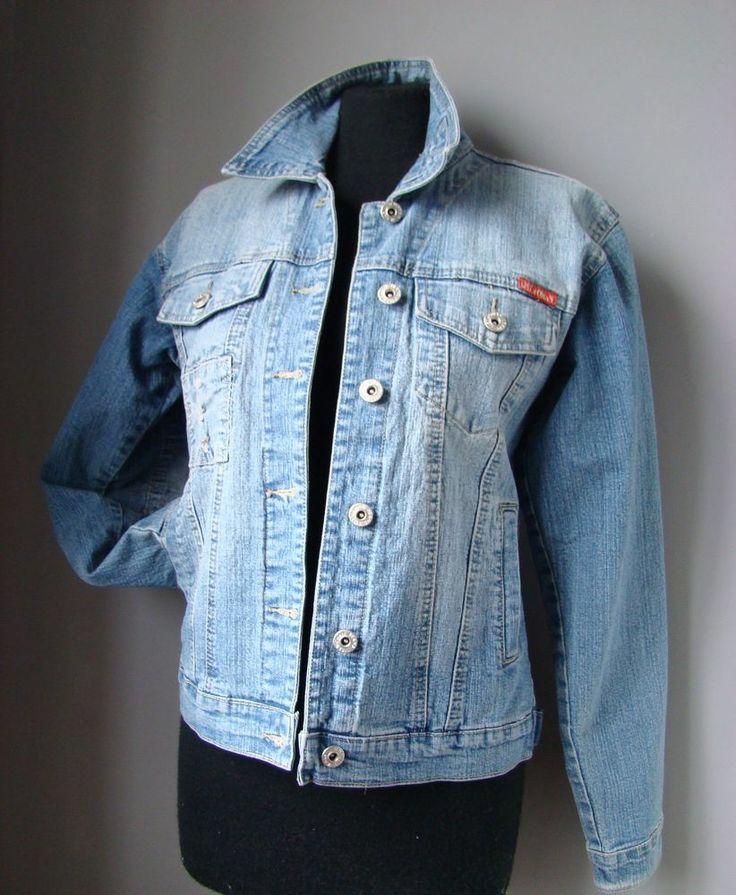 """BLAZER jeans """"LW"""" donna M 44 jacket giacca veste woman denim BLU chiaro colletto"""
