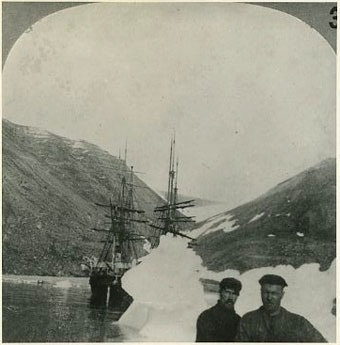 Peary Arctic Expedition, 1898-1901. Ships Windward and Eric at Nuerke, Greenland, 800 miles from the North Pole, during Robert E. Perary's 1898-1901 expedition. Naval History & Heritage Command, Photographic Section. #NH100974.