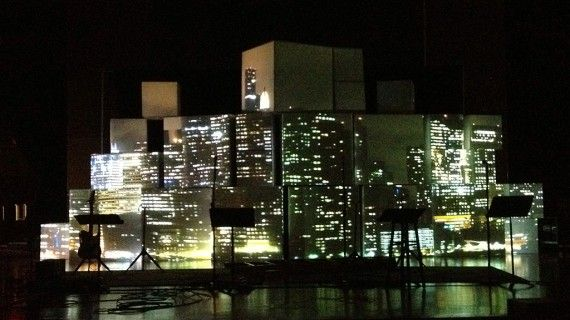 cityscape projection onto boxes, pretty sweet