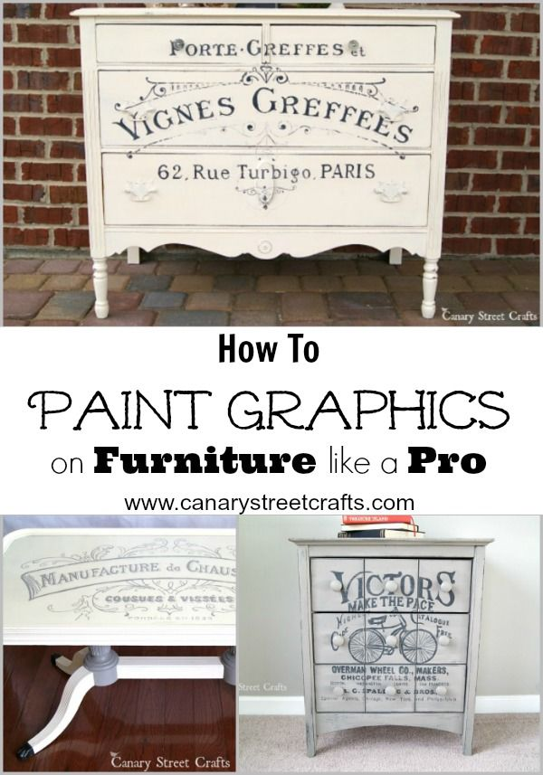 Learn how to paint graphics on furniture like a pro. Step by step instructions including a list of supplies you'll need.