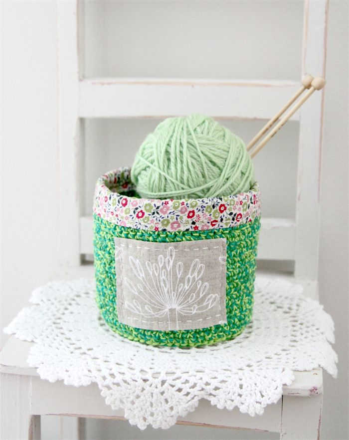 crochet storage basket, green, pink with agapanthus and flowers, free postage | Handmade by Plushka | madeit.com.au