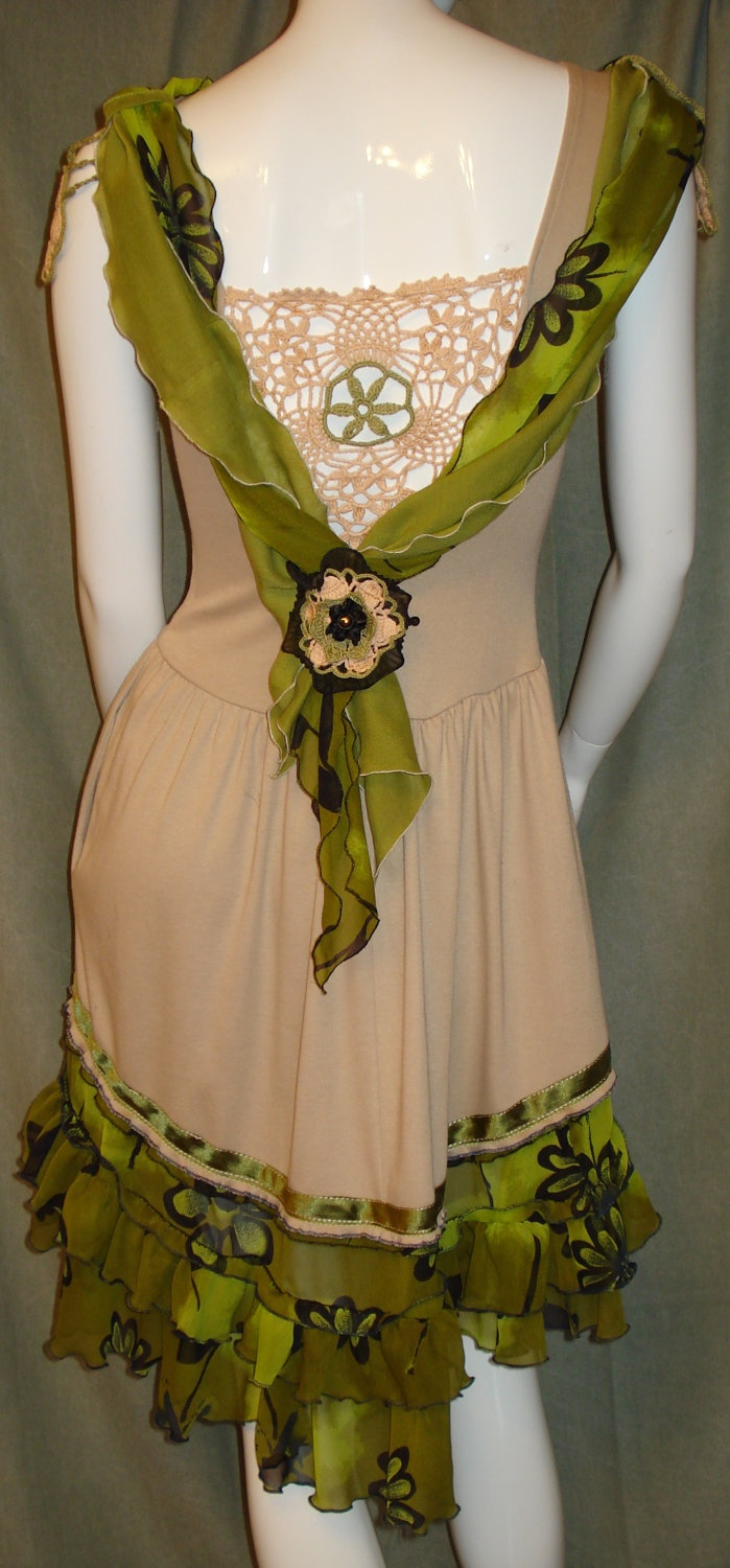 Altered couture WEARABLE cotton summer dress upcycled green fashion. $55.00, via Etsy.