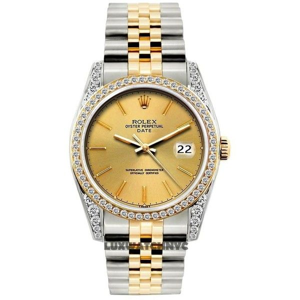 Rolex 2ct 34mm Date 2-tone W/ Box Appraisal Watch Tradesy (21.185 BRL) ❤ liked on Polyvore featuring jewelry, watches, lock jewelry, rolex wrist watch, rolex jewelry, bezel watches and preowned watches