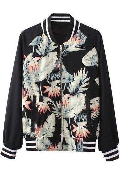Cool Sportif Outwear Black Long Sleeve Jungle Print Athletic Biker Jacket NEW #Unbranded #Sportif