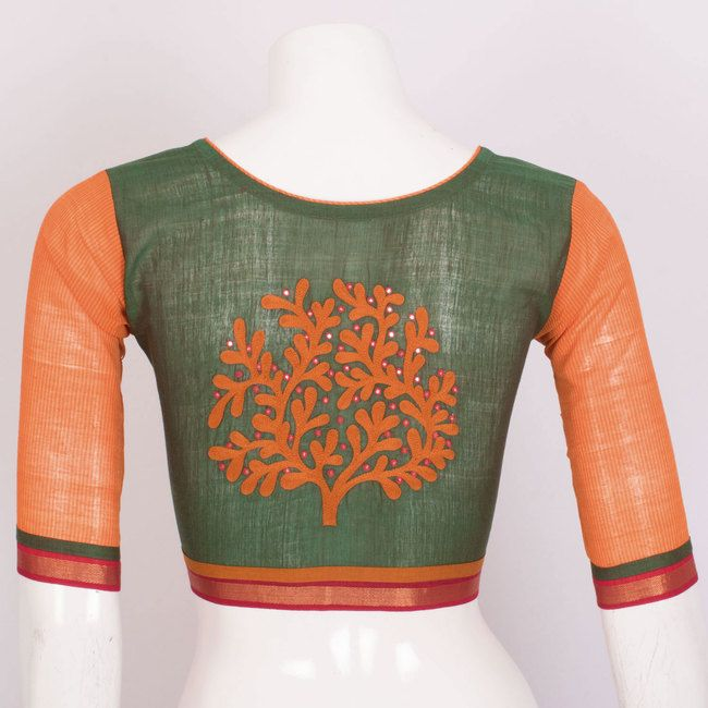 Hand Embroidered Cotton Blouse With Mirror Work 10020615 - AVISHYA.COM