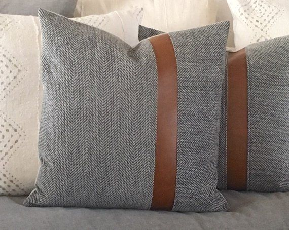 Wool Grey Herringbone And Carmel Brown Vegan Leather Pillow Boho