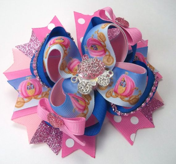 PRINCESS Boutique Hair Bow  -  PRINCESS Cinderella Hair Bow - PRINCESS Carriage Hair Bows - Girls Cinderella Hair Bow, Hair Clip