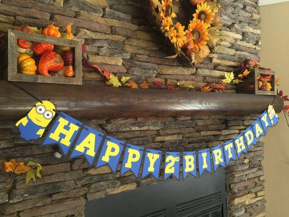 Minion Inspired Birthday Banner Minion Party Decor Happy Birthday Photo Prop Minion Birthday
