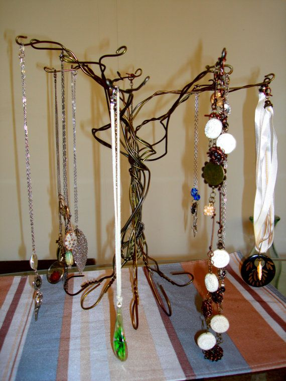 Upcycled Wire Coat Hanger Jewelry Tree Stand by AngysArt on Etsy