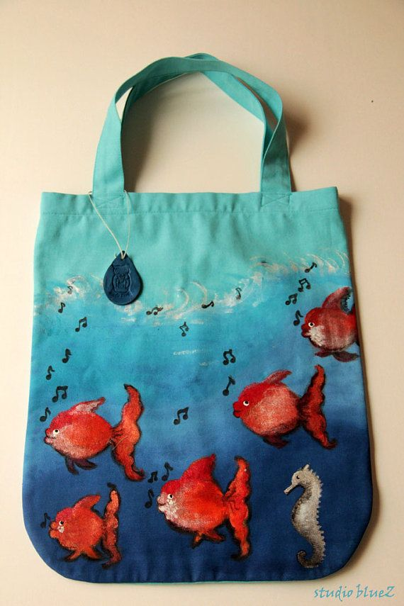 Hand Painted Tote Bag By Zeyc On Etsy Studio Bluez On