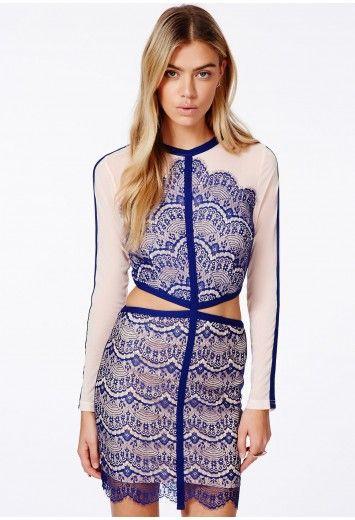 Satsuko lace panel midi dress in cobalt blue