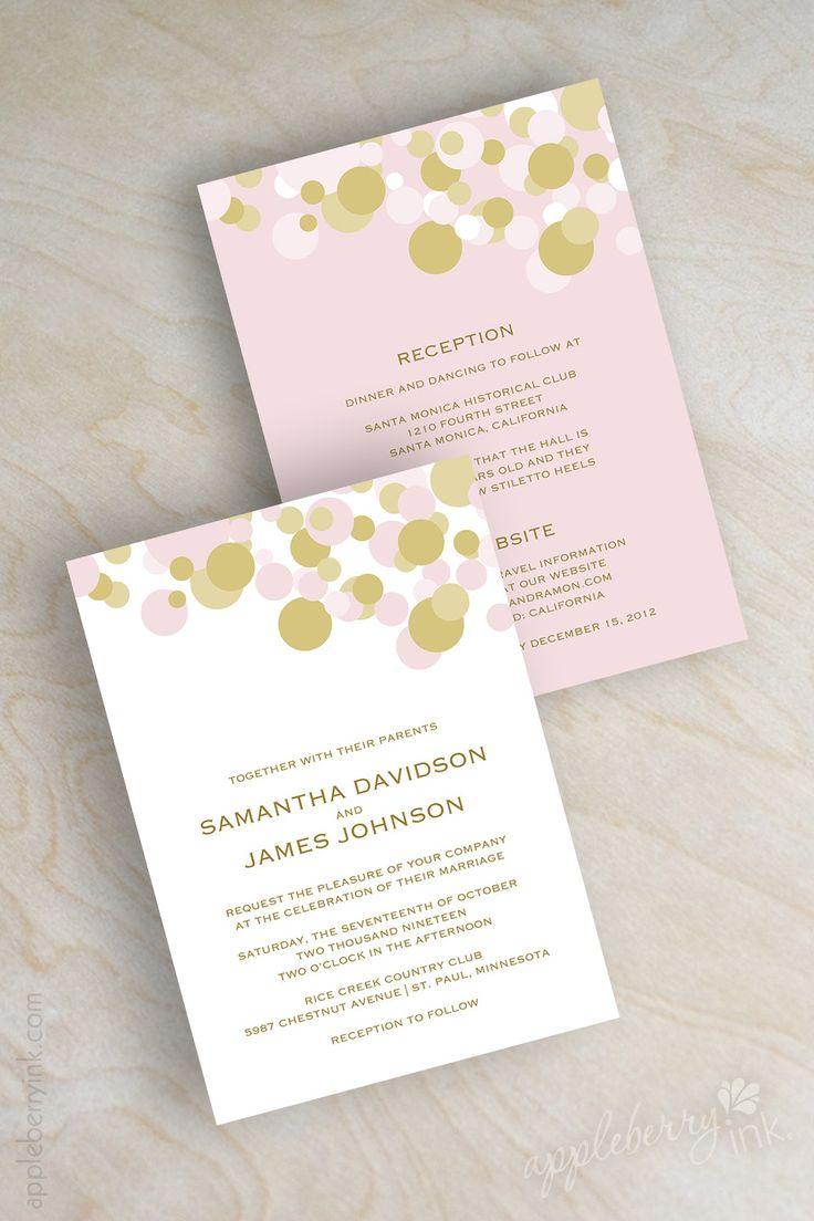 Pink and gold polka dot modern wedding
