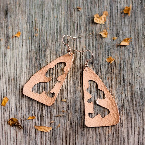 Handmade Earrings. In hand hammered and hand perforated 18K pink gold plated and vitrified copper.    Earwire fastening in 18K pink gold plated brass.
