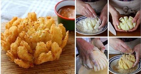 Fiori di cipolla croccanti con salsa dolce o speziata