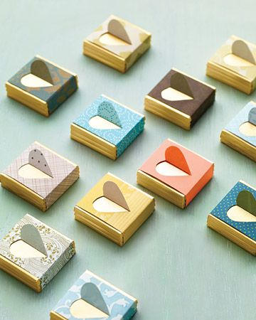 Matchbox favor ideas made out of wrapping paper!