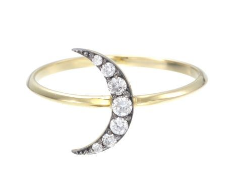 Zoe and Morgan Black Rhodium & Gold Luna Moon Diamond Ring - Trouva