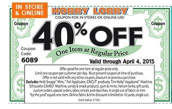 40% Off Hobby Lobby Coupon #coupons #crafts #DIY