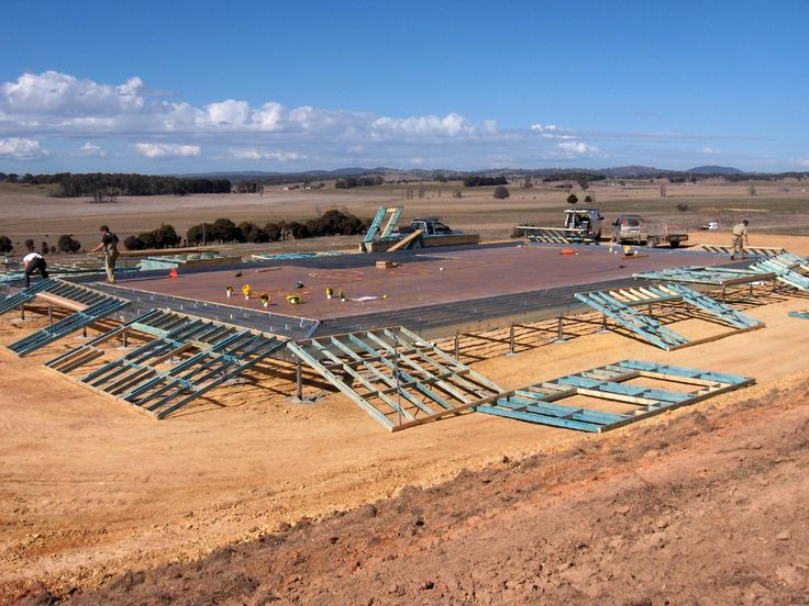 Boxspan Steel Floor Frame- Wall frames being set out on site
