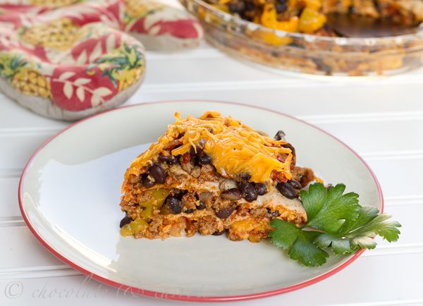 Taco Pie - I like this recipe better: Garlic Clove, Eggs Noodles, Black Beans, 1 2 Cups, Belle Peppers, Entir Pies, Ahead Tacos, Favorite Recipes, Green Onions