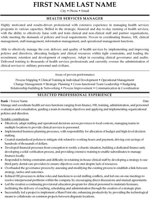 Health Services Manager Resume Sample & Template