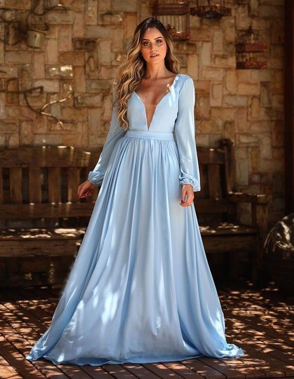 ffe4be1b5 Confira 10 vestidos longos azul claro perfeitos para a misso
