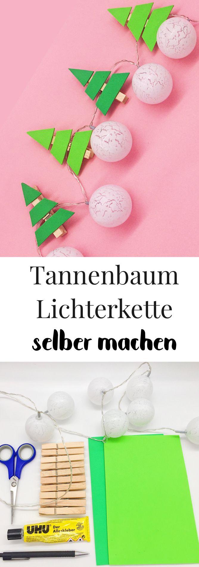 Weihnachtsdeko basteln – Lichterkette selber machen mit Tannenbäumen