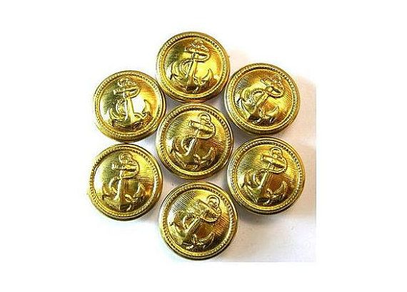 7 Metal  vintage buttons carved anchor picture gold by oritdotan