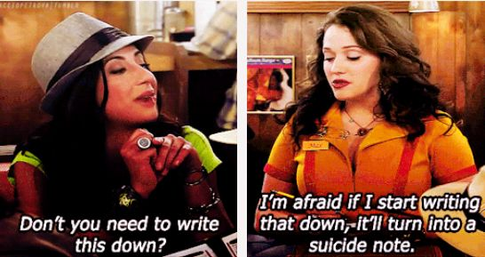 Don't you need to write this down? ~ 2 Broke Girls Quotes ~ Season 1, Episode 2: And The Break-Up Scene #amusementphile