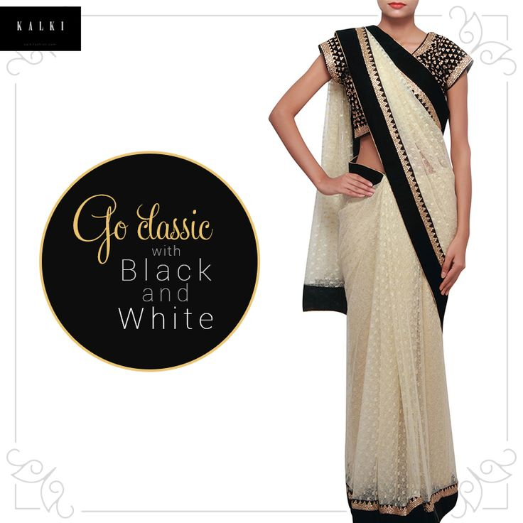 Drape in elegance with this exquisite saree. Make it a part of your wardrobe here: http://bit.ly/KalkiBlackAndWhiteSaree