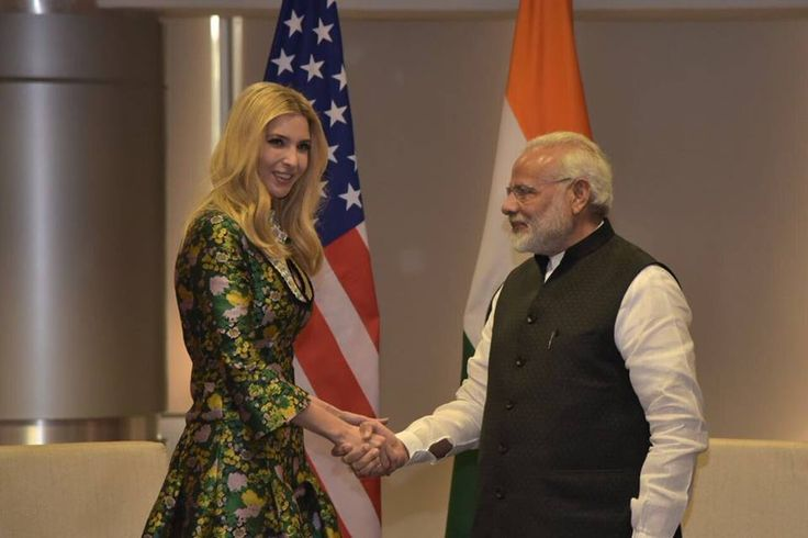 Ivanka #Trump, daughter of #US President Donald Trump met Prime Minister Narendra #Modi in #Hyderabad on the sidelines of the Global #Entrepreneurship Summits (GES2017 ) in Hyderabad. Image Source : Niti Aayog