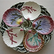 """Rare Antique  Wedgwood Majolica """"Ocean"""" Oyster Plate"""