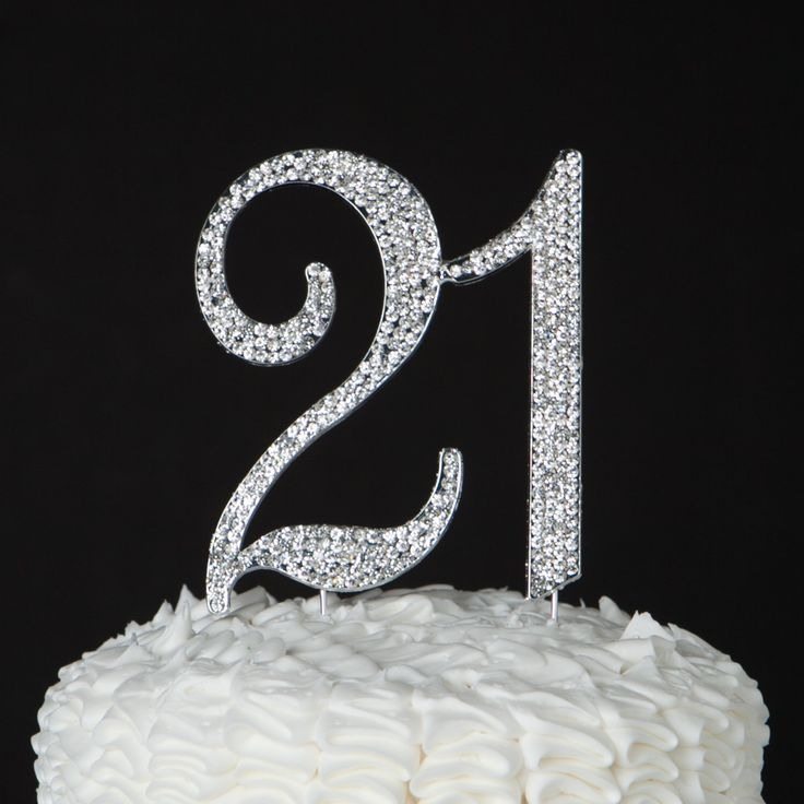 21 Cake Topper - 21st Birthday Party Decorations - Silver Rhinestone Metal Number - Decoration Ideas & Party Supplies by EllaCelebration on Etsy https://www.etsy.com/listing/261113135/21-cake-topper-21st-birthday-party