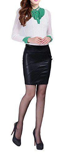 f4d4f803dcad0 Jupe Femme Cuir Faux PU Taille Haute Casual Ajusté Extensible Elastique  Sexy Simili Mini Jupes Jupe