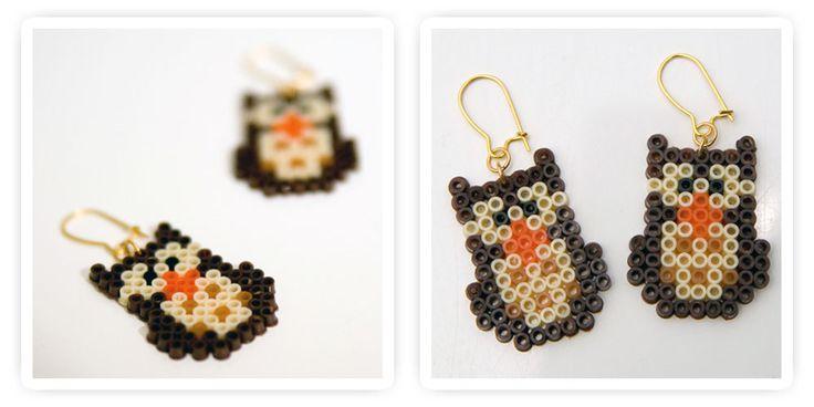 Owls earrings hama perler