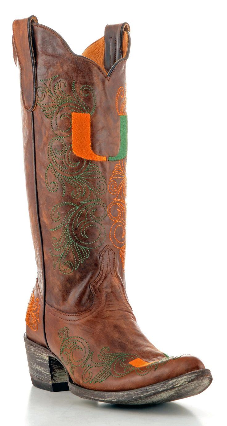 Gameday U Of Miami Ladies Leather Boots MIA-L061-1 - Brass