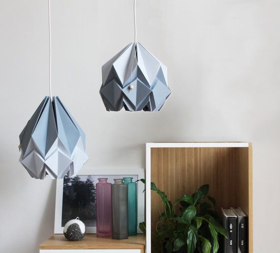 Elegant origami lamp | platinium and silver grey pendent light | Contemporary design to your home perfect for your living room or bedroom